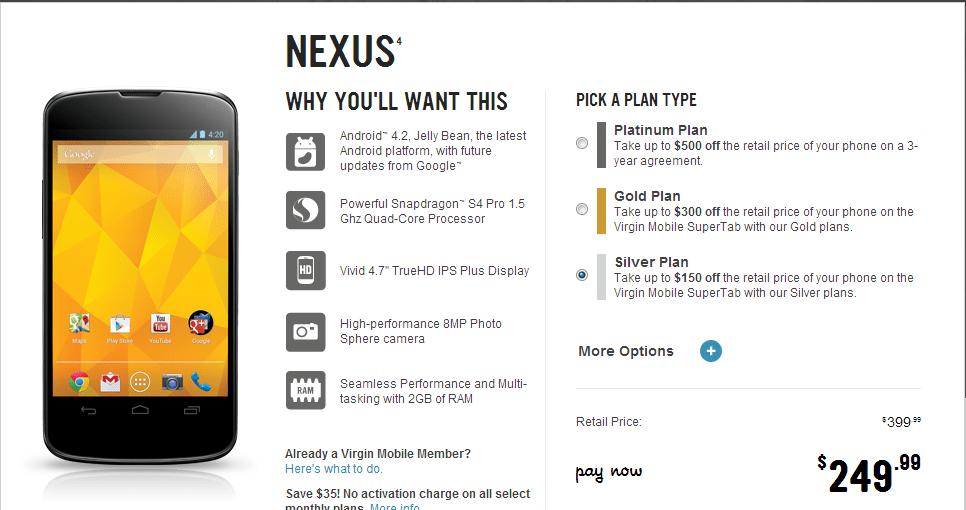 Virgin Nexus 4