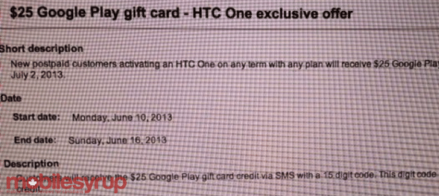 Bell Play Gift Card - HTC ONE