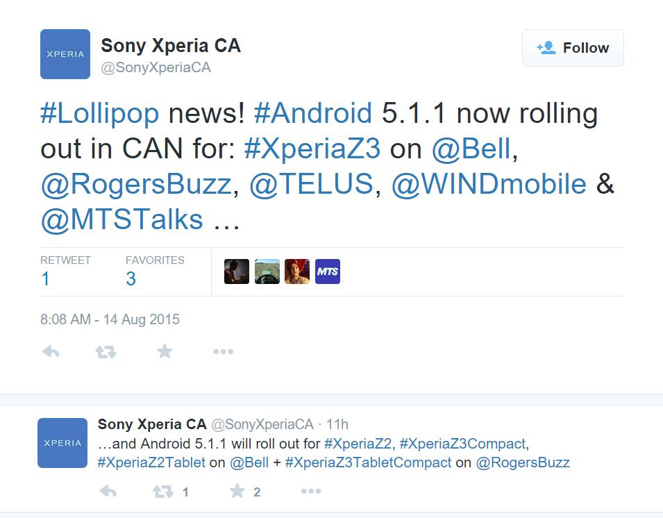 Sony Xperia Z Updates