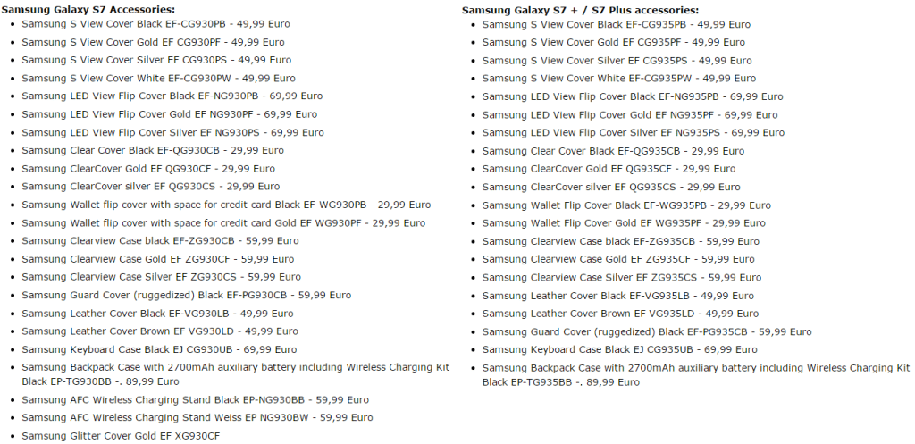 S7 Accessory List